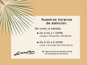 ENCANTOS SALONES - HORARIOS